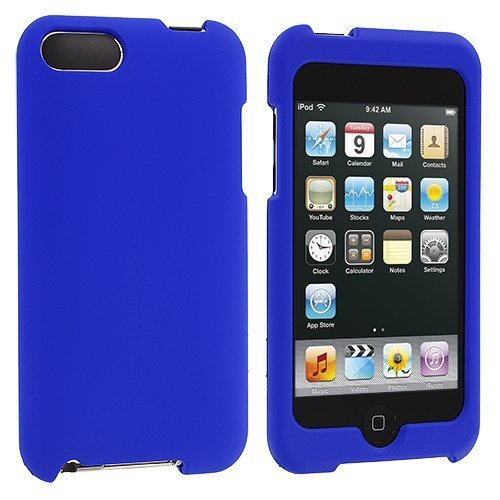 Blue Rubberized Snap-On Hard Skin Case Cover for Ipod Touch 2nd and 3rd Generation 2g 3g 2 3 8gb 16gb 32gb 64gb by Electromaster (Ipod Cases 3)