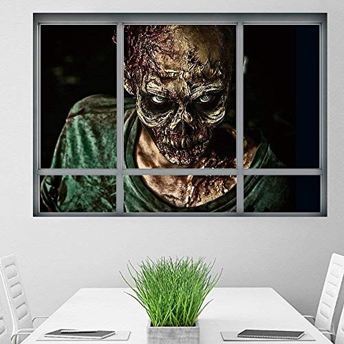 3D Halloween Zombie Fake Window Ghost Decals Window Wall Sticker Scary Wallpaper Removable Home Living Room Decor Poster