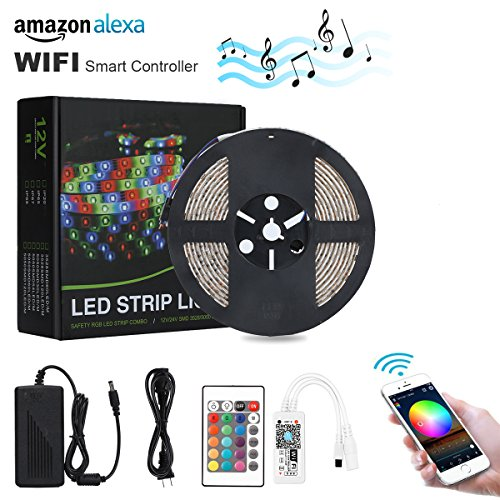 Lampwin Wifi Smart LED Strip Lights 2018 New Design RGB LED Strip Light Kit with 12V IP65 Waterproof 16.4FT 300 SMD 5050 LED Rope Light works with Alexa Voice, Smartphone Control, iOS Android App