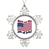 Christmas Snowflake Ornaments Personalized Christmas Snowflake Ornaments Born on the 4th of July Anniversary Snowflake Ornaments