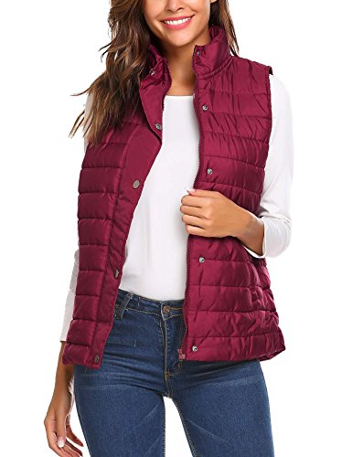 Hufcor Women Winter Warm Stand Collar Zip Up Solid Lightweight Quilted Vest,Wine (Bubble Vest)
