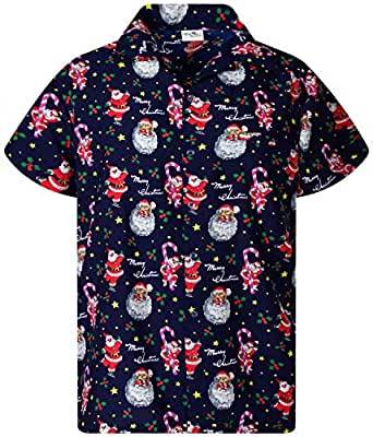 KAMEHAMEHA King Kameha Funky Hawaiian Shirt, Shortsleeve, Christmas, Candycane, Darkblue, XS
