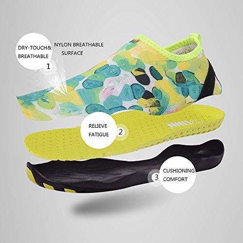 UNN Wasser Schuhe Multifunktionale Quick-Dry Barfuß Flexible Haut Aqua Socken für Beach Swim Surf Yoga Übung Grün