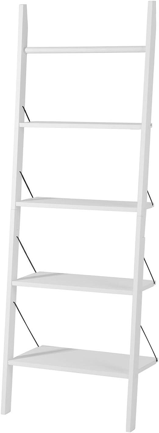 SoBuy® blanco 4 niveles escalera estante + 1 barra para colgar en la parte superior, baño estante de almacenamiento estanterías pantalla estantería, frg100-w: Amazon.es: Hogar