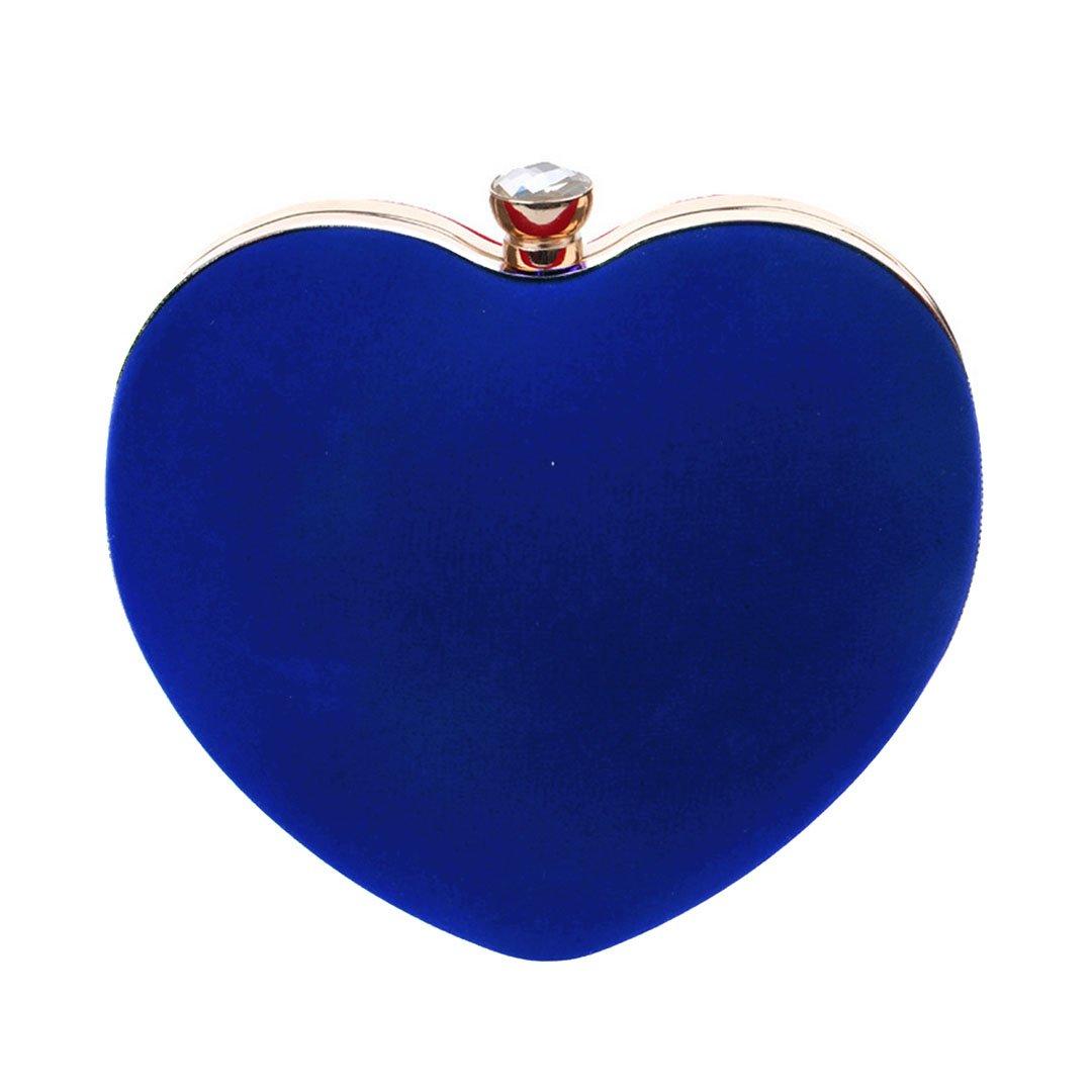 Felice Womens Girls Love Heart Shape Clutch Handbag Vintage Evening Tote Purse Luxury Party Prom Bag (blue)