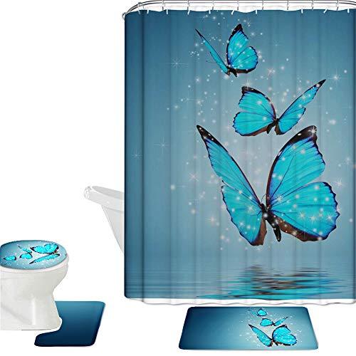 CHAQLIN Garden Bathtub Shower Curtain with Bathroom Carpet Pedestal Lid Mat Toilet Cover Set Rust Proof Flowers&Butterfly Pattern