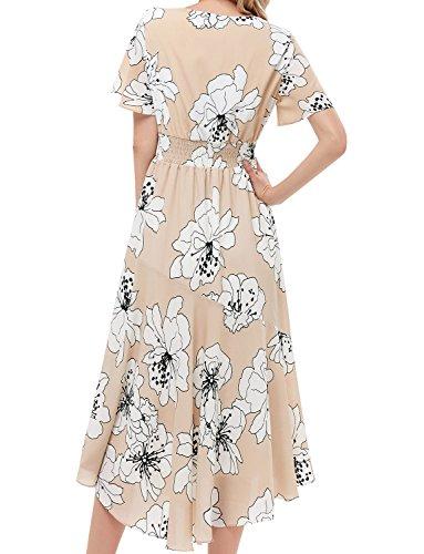 Bohemian Maxi Con Gardenwed Spiaggia Stampa Abiti Partito Corte Donna Scollo Da Apricot Estivo White Elegante Vestito Flower Maniche V Floreale Owq04BxXq