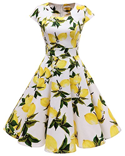 A-line Square Neck - Homrain Women's 1950s Retro Vintage A-Line Cap Sleeve Cocktail Swing Party Dress White Lemon 3XL