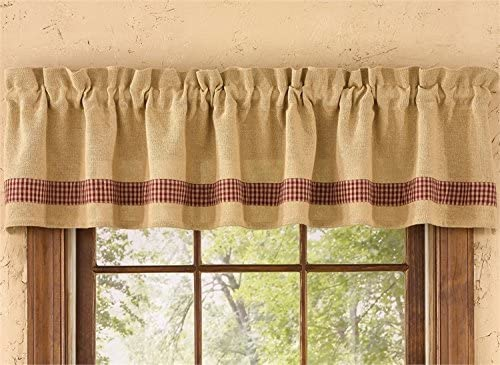 Park Designs Burlap Check Valance, 72 x 14, Red