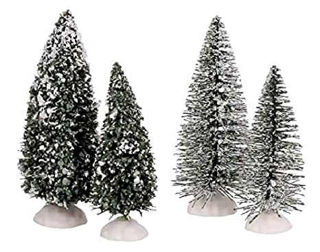 Christmas Village Accessories.Amazon Com Cobblestone Corners Snow Capped Green Pine Trees