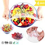 Silicone Bowl Covers,GANJOY Food Stretch Lids Reusable for Environmental (4 Packs)