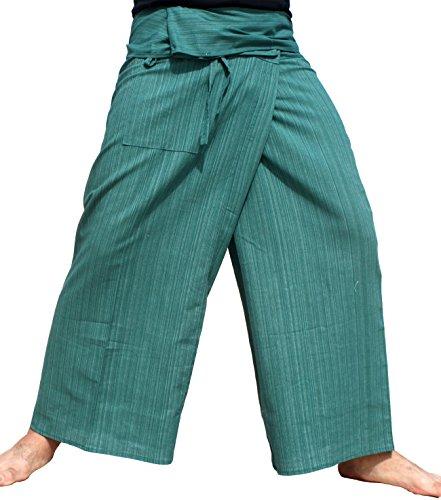 RaanPahMuang Brand Light Striped Cotton Tall Thai Fisherman Wrap Pants, Small, MSU ()