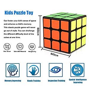 Speed Cube Set HQQNUO Cube Bundle 2x2 3x3 4x4 5x5 Vivid Color Sticker Magic Cube Set Puzzle Toys for Kids and Adults (Set of 4)