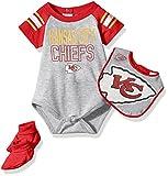 NFL Newborn Blitz Onesie, Bib and Bootie Set-Heather Grey-9 Months, Kansas City Chiefs