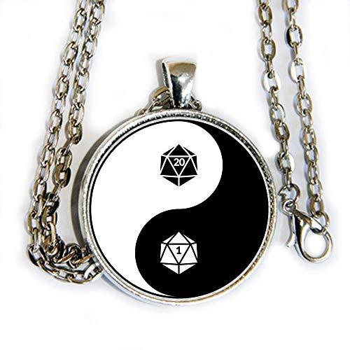 D1 D20 yin yang image - D&D DND Dungeons & Dragons - pendant necklace - HM