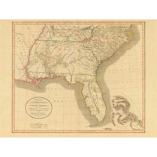 Southeast Florida Maps - Wee Blue Coo Map Antique 1812 United States America South East Georgia Florida Unframed Wall Art Print Poster Home Decor Premium