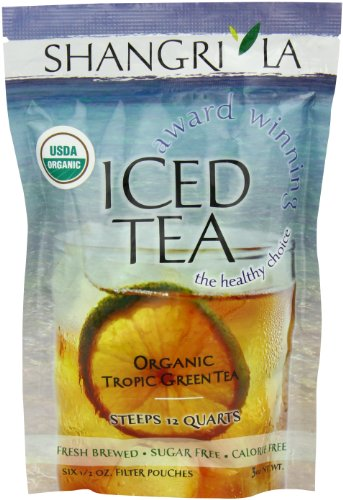 Organic Iced Tea (Shangri La Tea Company Iced Tea, Organic Tropic Green, Bag of 6, 1/2 Ounce)