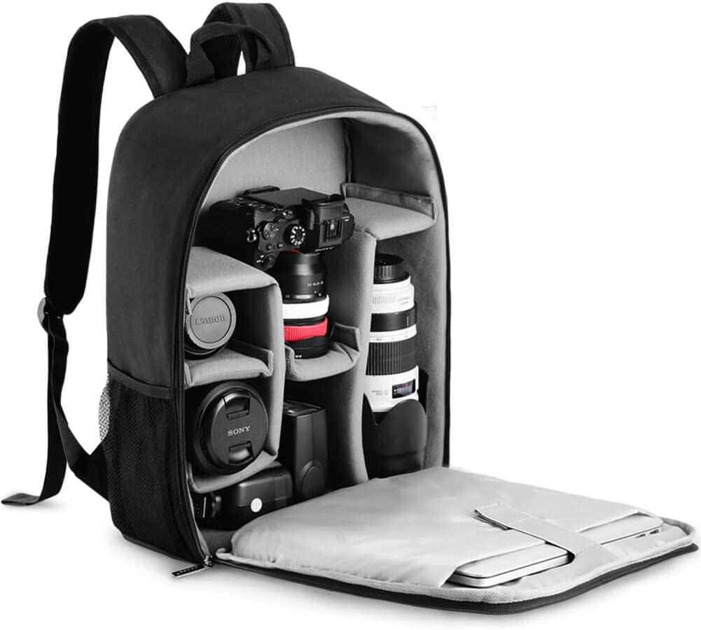 "CADeN Camera Backpack Bag with Laptop Compartment 15.6"" for DSLR/SLR Mirrorless Camera Waterproof, Camera Case Compatible for Sony Canon Nikon Camera and Lens Tripod Accessories Black"