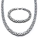 Mecoo America Fashion Style Jewelry Sets Link Byzantine Chain Stainless Steel High Polished Necklace and Bracelet Sets for Men (Necklace and Bracelet)