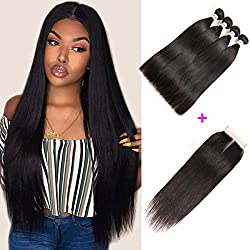 "Mirthful Brazilian Virgin Straight Hair 3 Bundles With Closure 4""x4"" Inch Middle Part 8A 100% Unprocessed Brazilian Remy Human Hair Weft With Lace Closure Natural Black(22 24 26 28 w 20 middle part)"