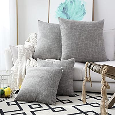 Kevin Textile 2 Pack Decorative Linen Throw Pillow Covers, Outdoor Pillows Cover Large Cushion Case for Couch/Chair, 24… - SIZE: Include 2 pc 24x24 inch /61x61cm (1-2cm deviation) linen cushion cover. No Cushion Insert. FEATURES: Compared with the traditional monochrome linen pillow cover,we add 2 Tones Weave, let you have a better visual experience, let your home is no longer monotonous. DESIGN: We use the same as the fabric color invisible zipper closure for an elegant look, easy insertion removal and washing. Hidden zipper design can be opened around 48-50 cm for the cushion insertion. - patio, outdoor-throw-pillows, outdoor-decor - 51QiFCGbJ L. SS400  -