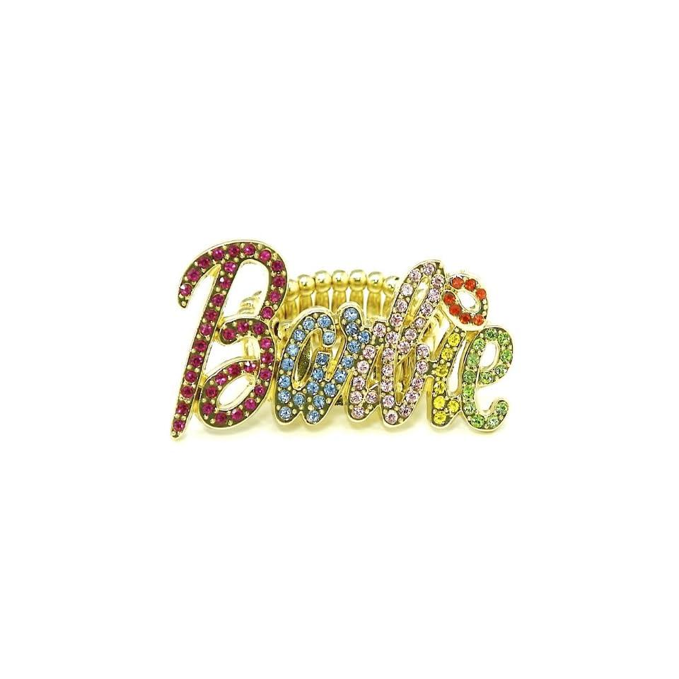 Nicki Minaj Barbie Iced Out Stretch Band Ring Multi With Red Lips Single Row B