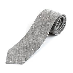 Men's Cotton Linen Skinny Necktie Tie Sand Wash Solor Color Pattern - 2 1/2