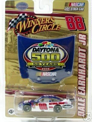 2008 Dale Earnhardt Jr #88 National Guard Blue White Chevy Impala SS 1/64 Scale Car & 50th Running of Daytona 500 Commemorative Magnet Hood Winners - Diecast Guard Car
