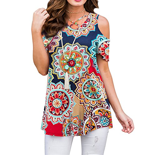 ZZER Women's Casual Floral Cold Shoulder Tunic Tops V-Neck Criss Cross Tee Shirts Loose Blouses (Multicoloured, Medium)