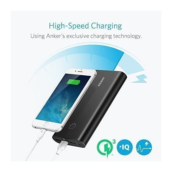 Anker PowerCore+ 26800, Premium Portable Charger, High Capacity 26800mAh External Battery with Qualcomm Quick Charge 3.0… 2 The Anker Advantage: Join the 50 million+ powered by America's leading USB charging brand. Qualcomm Quick Charge 3.0: Using Qualcomm's advanced Quick Charge 3.0 technology, PowerCore+ allows compatible devices to charge 85% faster. Recharges itself 2X as fast with the included wall charger. Fast-Charging Technology: Exclusive to Anker, PowerIQ and VoltageBoost technologies combine to provide universal full speed charging for non-Quick Charge devices, up to 3 amps per port.