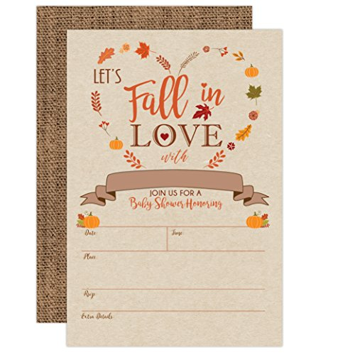 Pumpkin Fall in Love Baby Shower Invitations, Autumn Fall Leaves Invite, Neutral Burlap, 20 Fill in Style with Envelopes ()