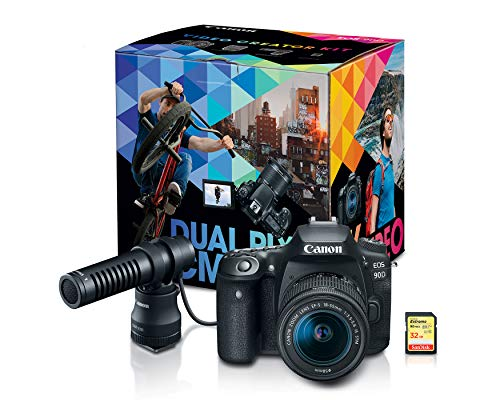 Canon DSLR Camera [EOS 90D] | Vlogging Video Creator Kit with Stereo Microphone DM-E100, 32GB SDHC Memory Card and…