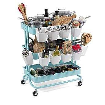 Metal Rolling funcional utilidad carro de cocina con ruedas y 10 compartimentos para organizar tu despensa gabinetes y más en turquesa: Amazon.es: Amazon.es