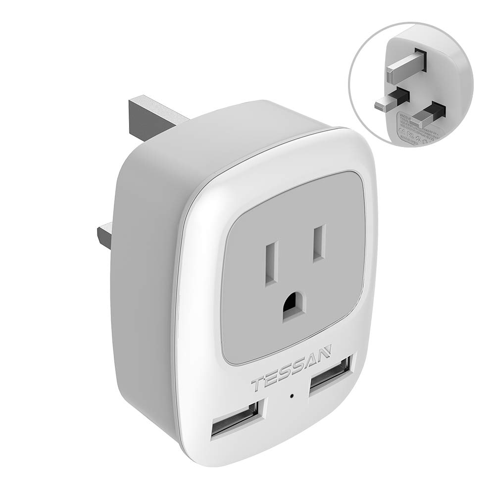 UK Ireland Hong Kong Power Adapter, TESSAN International Travel Plug with Dual USB Charging Ports, 3 in 1 AC Outlet for USA to UK British England Scotland (Type G)