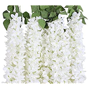 Duovlo 4.59 Feet Artificial Wisteria Bush Vine 10 Stems Silk Hanging Flower for Wedding Events Yard Decor,Pack of 2 (White) 61