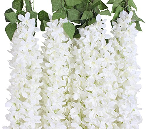 Duovlo 4.59 Feet Artificial Wisteria Bush Vine 10 Stems Silk Hanging Flower for Wedding Events Yard Decor,Pack of 2 (White)