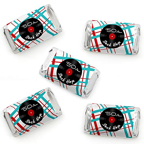 (50's Sock Hop - Mini Candy Bar Wrapper Stickers - 1950s Rock N Roll Party Small Favors - 40)