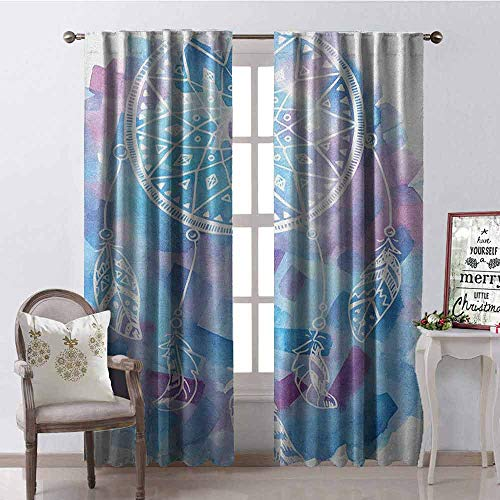 Gloria Johnson Feather Heat Insulation Curtain Abstract Dream Catcher with Watercolor Background Artistic Brushstrokes for Living Room or Bedroom W52 x L95 Inch Pale Blue Lilac White