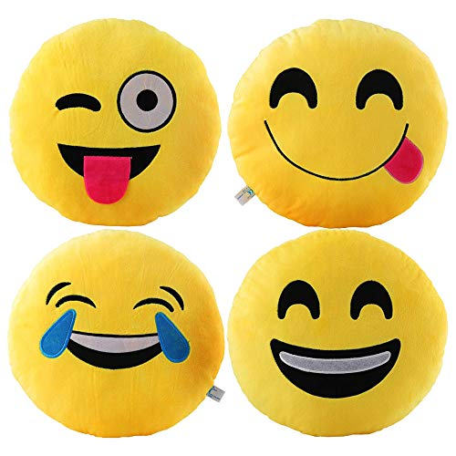 VicLabs New Fashionable Cute Smiley Emoticon Emoji Pillow ,Large Emoji Pillows 4 Piece Set,for Kids and Young Ladies, ( Dia 12.5 Inch, Yellow Throw Emoji Pillow)