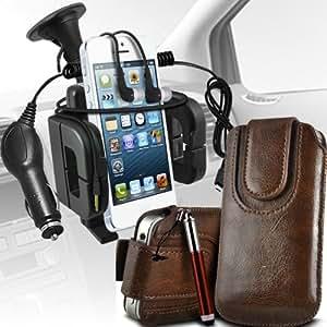 LG L90 Protección Premium de cuero de la PU botón magnético ficha de extracción Slip espinal en bolsa de la cubierta de piel de bolsillo rápido con lápiz óptico retráctil, Jack de 3,5 mm auriculares auriculares auriculares, cargador de coche USB Micro 12v y soporte universal de la succión del parabrisas del coche Vent Cuna Brown por Spyrox