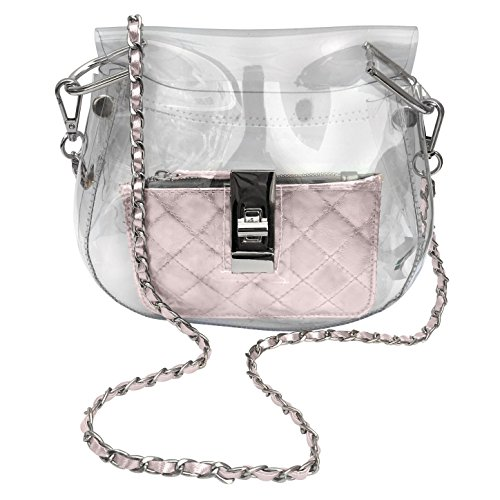 ZORBITZ Women's the Bella Stadium Bag, Clear, Rose Belle Rose Purse