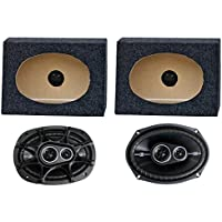 2) Kicker 41DSC6934 6x9 360W Car Speakers + 2) QTW6X9 Angled 6x9 Speaker Box