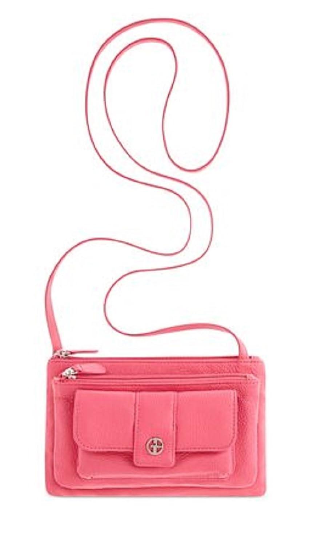 Giani Bernini Leather Softy Top Zip Crossbody Bag Handbag (Fuschia)