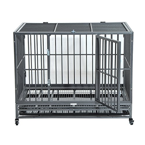 Pawhut 42 Quot Heavy Duty Steel Dog Crate Kennel Pet Cage W