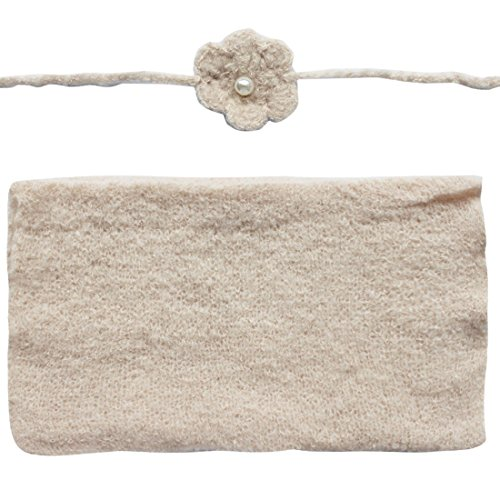 FEESHOW Baby Crochet Knit Mohair Wrap Cloth with Headdress Flower Photography Prop, Beige, One (Beige Mohair)