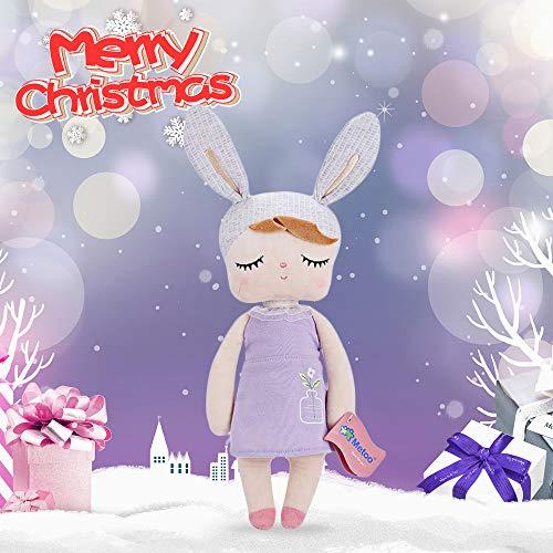 SKM Me Too Angela Stuffed Soft Cuddly Doll Toy Bunny Girls Baby Plush Rabbit Doll for Baby Kids, Birthday Gifts, Kids Sleeping Partner, 14 inch+Gift Bag (Purple)