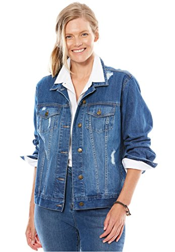 Women's Plus Size Jacket, Cropped Length, Stretch Denim & Twill Light Stonewash Stone Stretch Twill