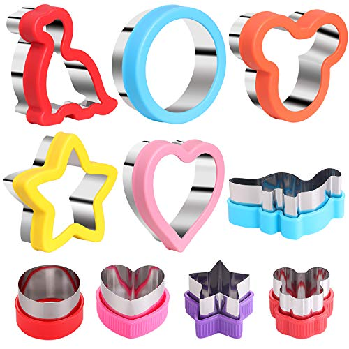 10pcs Sandwiches Cutters set, Mickey Mouse & Dinosaur & Heart & Star Shapes & Round Shapes etc Sandwiches Cookie Vegetable Fruit Cutters-Food Grade Stainless Steel Cookie Cutters Mold for Kids