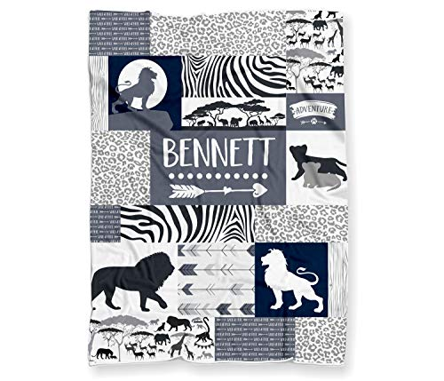(Safari Lions Baby Blanket for Boys or Girls - Personalized Savanna Themed Baby Shower Gift - (Lightweight Minky Fleece - 30