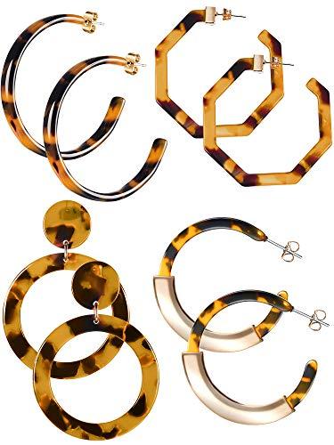 Jetec Acrylic Resin Earrings for Women Tortoise Shell Hoop Earring Mottled Bohemian Drop Dangle Statement Fashion Round Circle Lightweight (Style B)
